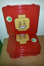 Lego New Bulk red project Case / storage container x3 with Lego boy head Logo