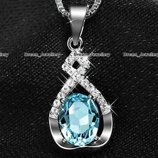 Infinity Aquamarine Stone Pendant Silver Necklace Costume Jewelry Gifts for Her