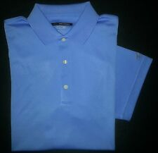 c858 L Solid Blue GREG NORMAN Polyester Play Dry PlayDry Casual Golf Polo!