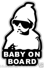 BABY ON BOARD BLACK AND WHITE STICKER TOOLBOX STICKER LAPTOP STICKER
