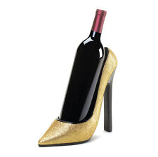 Sparkly Gold High Heel Pump Stilleto Shoe Wine Bottle Holder