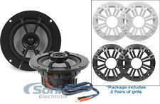 """Kicker KM42CW 4"""" KM Series 150W 2-Ohm Coaxial Marine Speakers w/ Pair of Grills"""