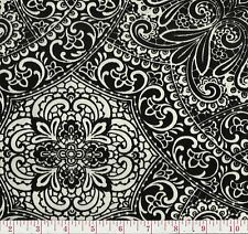 PK Lifestyles Intricacy Peacock Black White Velvet Floral Upholstery Fabric BTY