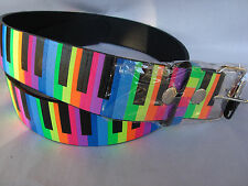 PIANO Keyboard Leather Belt Rainbow Sz XL Silver Buckle Brand NEW Music Gift
