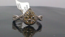 New 14 K White Gold Tear Drop Shaped With 0.83 CT Yellow Canary Diamond Ring