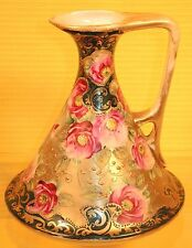 Antique Nippon Porcelain Moriage Ewer Pitcher Heavy Gold Bead Hand Painted Roses