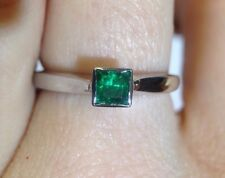 Elegant and Sleek Deep Green .30CT Colombian Emerald 14K White Gold Ring Size 6