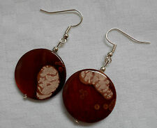 Handmade unique mother of pearl shell silver plated earrings spotty brown