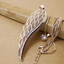 Fashion Gold-plated Wings Mosaic crystal chain long necklace JJ225