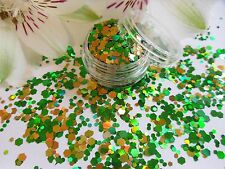 Nail Art Chunky *St Patrick* Gold Green Hexagon Shapes Glitter Spangle Mix Pot