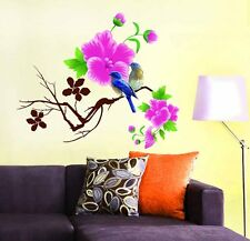 Wall Stickers Living Room Design Blue Birds with Pink Flowers  712