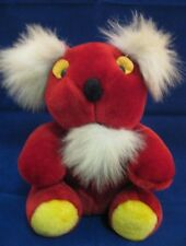 Vintage Red Koala Bear Teddy Plush Yellow White 31P11 Stuffed Animal Toy EUC