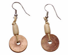 COPPER TONED CIRCLE KEG EARRINGS WITH WOODEN BEAD ACCOMPANIMENT (ZX54/169)