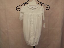 Petit Ami Newborn Boys White Batiste Smocked Baby Gown w/Row of Buttons, Cap