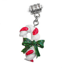 Christmas Candy Cane Resin Holiday Dangle Bead for European Style Charm Bracelet