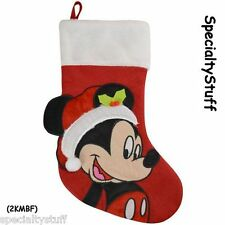 "NEW DISNEY MICKEY MOUSE 18"" BIG FACE FELT CHRISTMAS STOCKING (2KMBF)"