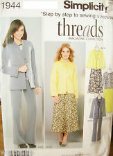 Ms Simplicity 1944 UNCUT Threads Pattern Jacket Pants Skirt Top Sz 8-10-12-14-16