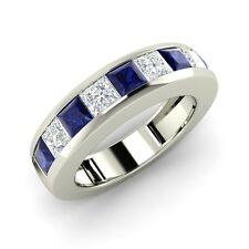 1.59 Ct Princess Cut Natural Blue Sapphire and VS Diamond Ring in 14k White Gold