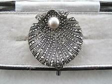 Charming Nouveau/Victorian Genuine Silver & Pearl Seashell Brooch