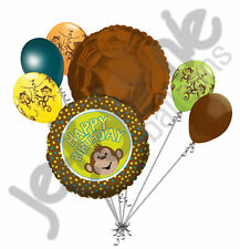 7 pc Monkey Around Happy Birthday Balloon Bouquet Party Decoration Animal