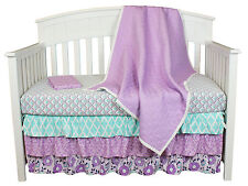 Zoe Purple Quilted Coverlet 4-In-1 Baby Girl Infant Crib Bedding Collection