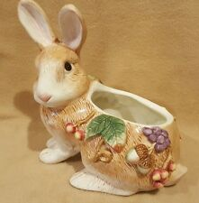 Fitz and Floyd Autumn Splendor Bunny Rabbit Planter / Container (Missing Lid)
