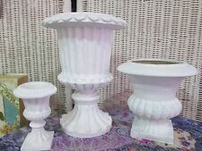 BEAUTIFUL LOT OF 3 URNS FRENCH COUNTRY SHABBY CHIC STYLE DECOR VASES FLOWER POTS