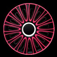 "BRAND NEW CAR 15"" BLACK & PINK LE MANS WHEEL TRIMS / HUB CAPS FULL SET OF 4"