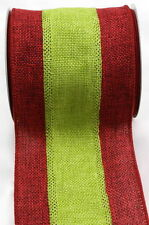 "PRIMITIVE CHRISTMAS BURLAP JUTE RIBBON RED & GREEN 4"" x 15' Deco Mesh Wreath"