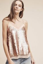 ANTHROPOLOGIE Rose Gold Sequined Cami 4 S Tank Top Moulinette Soeurs NEW NWT