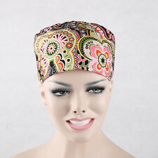 Women/Doctors Bright Flower Print Scrub Skull Cap Medical Surgical Surgery Hat