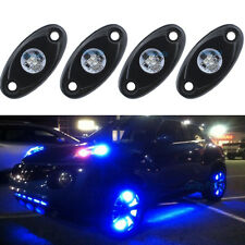 4Pcs Aluminum 9W Bright Blue LED Rock Lights Accent Under Car Body For Chevy