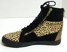 Metallic Copper CHEETAH Print BETSEY JOHNSON Hi-Top Sneakers Nathan Shoes 7 M