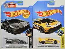 2016-17 Hot Wheels Lamborghini HURACAN LP 620-2 SUPER TROFEO Gray/Yellow 2 Cars