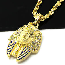"Mens Gold Iced Cz Egyptian Pharoah Pendant 24"" Rope Chain Hip Hop Necklace D490"