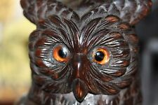 BLACK FOREST MAGICAL WIZARDRY OWL BIRD CARVED WOODEN TOBACCO JAR BOX