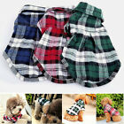 Pet Dog Puppy Plaid T Shirt Lapel Coat Cat Jacket Clothes Apparel Tops Size XS-L