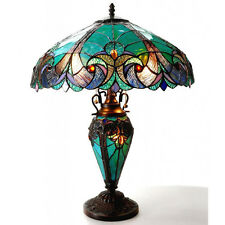 Table Lamps For Living Room Bedroom Dale Tiffany Light Turquois Amber Art Glass
