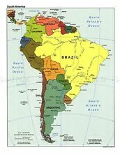 Carta geopolitica CIA 1998 paesi sudamericani REPLICA poster stampa pam1404