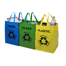 Set of 3 Recycle Bags Paper Glass Plastic Storage Bags Home Recycle Storage New