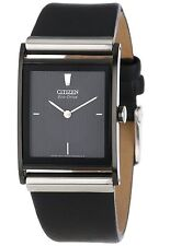 Citizen Men's BL6005-01E Eco-Drive Black Ion-Plated Leather Watch New in Box