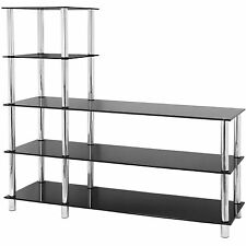 HARTLEYS 5 TIER BLACK GLASS SHELF/TV UNIT/CONSOLE TABLE OFFICE/BEDROOM/LOUNGE