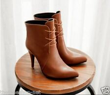 Closed Pointed High Heel Shoes Boots Leather Look with Lace For Women/Girls - 39