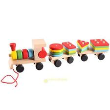Educational Kid's Wooden Solid Wood Stacking Train Toddler Block Christmas Toy