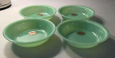 """4 Fire King Jadite Jane Ray 6"""" Cereal Bowls ~ Original Gold Foil Labels ~"""