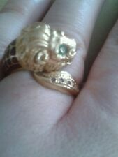 18k Antique unique fine quality 18ct  stamped gold lion and enamel ring