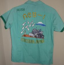 TRUE VINTAGE unbelieveable embroidered japanese BOWLING SHIRT unworn new tractor