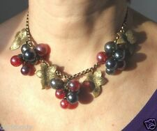 100% BRASSE & GLASS GILDED LEAVES & CHAIN, RED & BLUE GRAPE,CLUSTERS CHOKER