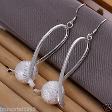 Boucles d'oreilles branché plaqué Argent 925 long: 6 cm Perle: 14 mm