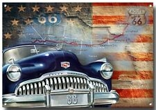 ROUTE 66 METAL SIGN.(A3) SIZE.VINTAGE BUICK CARS,AMERICANA, ROUTE 66 .
